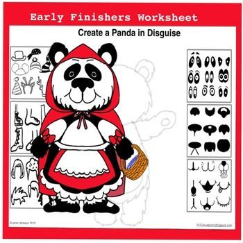 This early finishers worksheet is great for Christmas and winter. It would be perfect in the elementary classroom or art room. Disguise a panda bear worksheet lets every student succeed. #winterartlesson #Christmasartlesson #pandaart