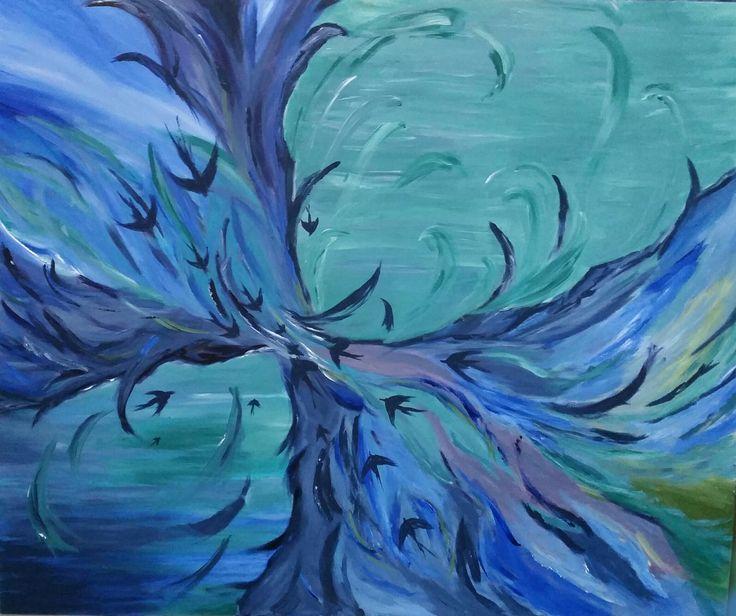 Mavi Kuşlar (Blue Birds) by Ayşegül Kıvrık - TÜA / #acryliconcanvas - 120x100  #gallerymak #sanat #resim #sanatsal #özgürlük #soyut #kuşlar #gününkaresi #gununkaresi #gununfotografi #abstract #abstractart #abstractpainting #akrilik #tablo