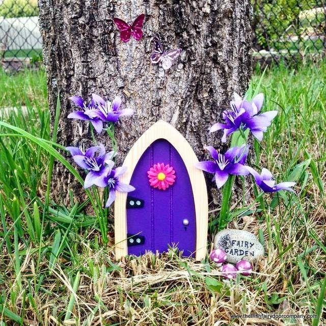 A lovely purple fairy door from the Irish Fairy Door Company.