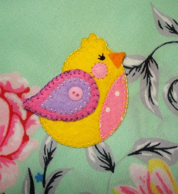 felt bird brooch handmade yellow felt easter by fabthomson on Etsy, £4.00Etsy, Little Birds, Birds Brooches, Yellow Felt, Felt Easter, Felt Birds, Brooches Handmade, Handmade Yellow