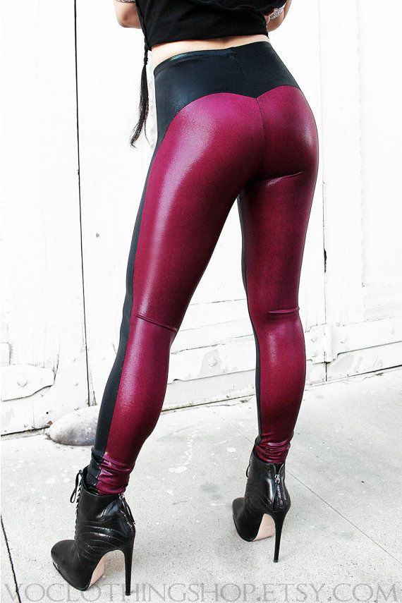 ** NEW ITEM!!! ** KILLER shiny metallic wet-look spandex leggings in black with curving side seams and a pointed widows peak above a deep