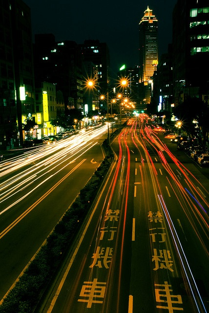 """▲  Taipei after dark- Funny...when I stepped off the plane the first thing I saw was a sign the size of a large wall that says """" Drugs have punishment of death."""""""