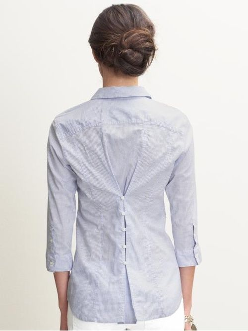 Making a larger shirt fitted by adding button detail in back