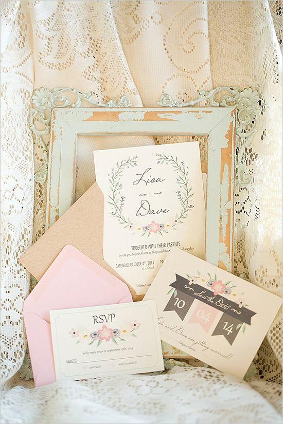sweet pastel wedding stationery | modern pulp design studio | kismet & clover | red bloom photography | calgary wedding photographers | paul hardy design | rustic chic wedding