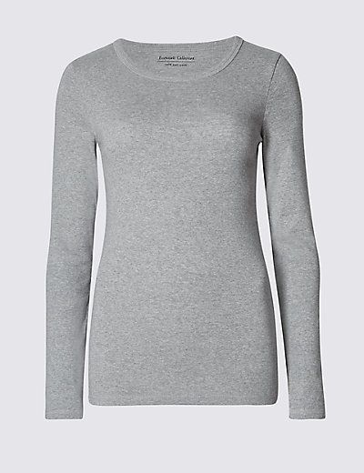 Pure Cotton Crew Neck Long Sleeve T-Shirt | M&S