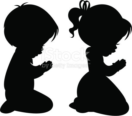 A little by and little girl praying. Can be used separately or together-solid shapes.