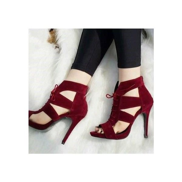 37e26c58c22 Burgundy Suede Hollow-out Lace Up Heels Stiletto Heels Sandals in ...