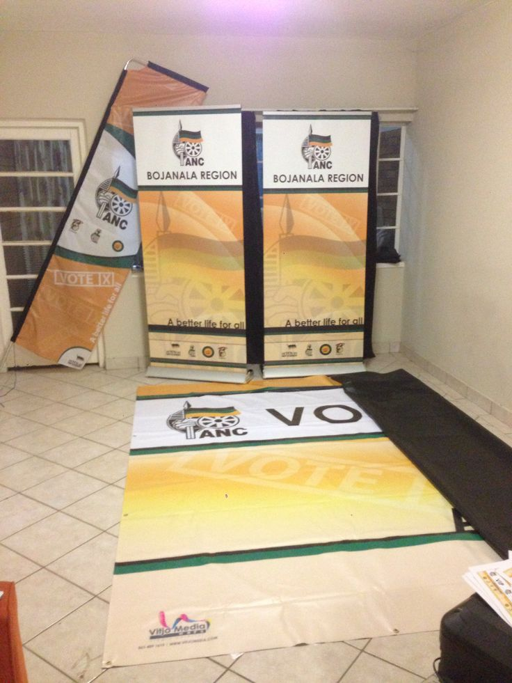 Branding material printed for the ANC, pull up banners, telescopic banners and hanging banners.
