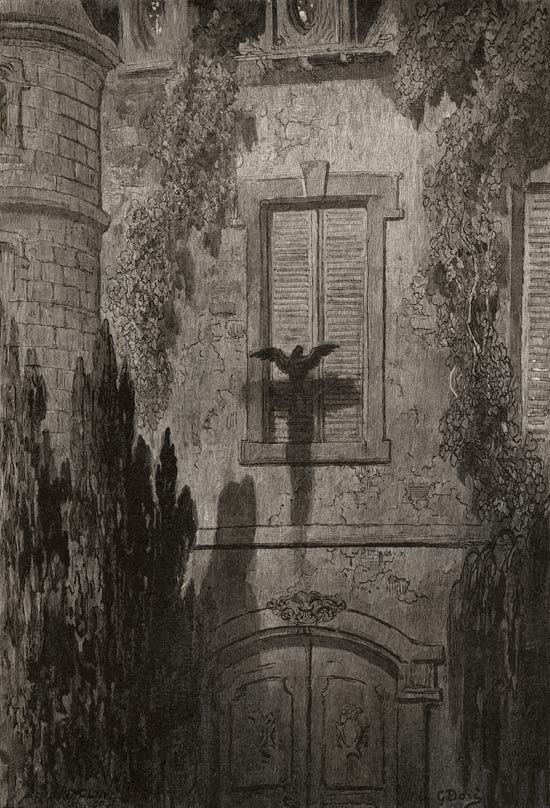 Title: Gustave Doré illustration to the 1884 edition of Edgar Allan Poe's The Raven: Surely, that is something at my window lattice....