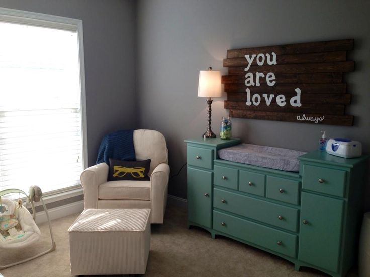 baby boy nursery. Not only is this room cute but that sign is sooo awesome. Seth can make one! :) #greyandteal #rusticsign