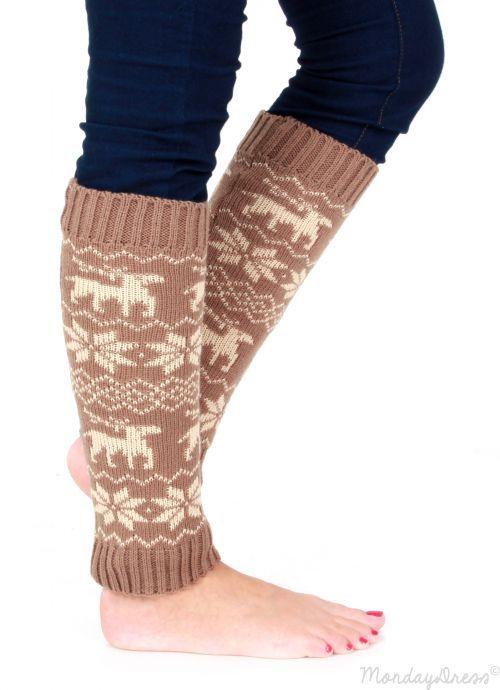 Beige And Ivory Reindeer Leg Warmers