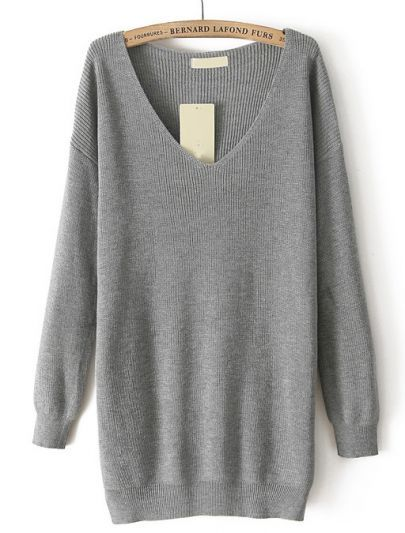 Grey V Neck Long Sleeve Loose Knit Sweater