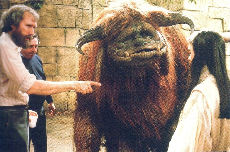 Jim Henson on Labyrinth set.
