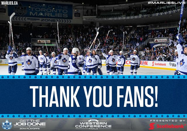 The Toronto Marlies fell in Game 7 to the Texas Stars in the Western Conference Finals and have been eliminated from the Calder Cup playoffs. Thank you to all of our amazing fans for your support this season.