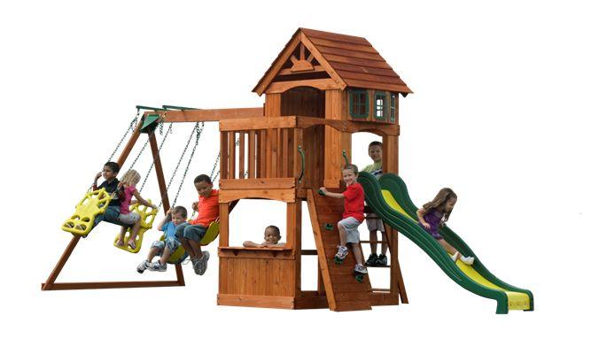 Outdoor Wooden Backyard Atlantis Kids' Playset Swingset with Swings, Slide, Sandbox and Rockwall | Backyard Discovery