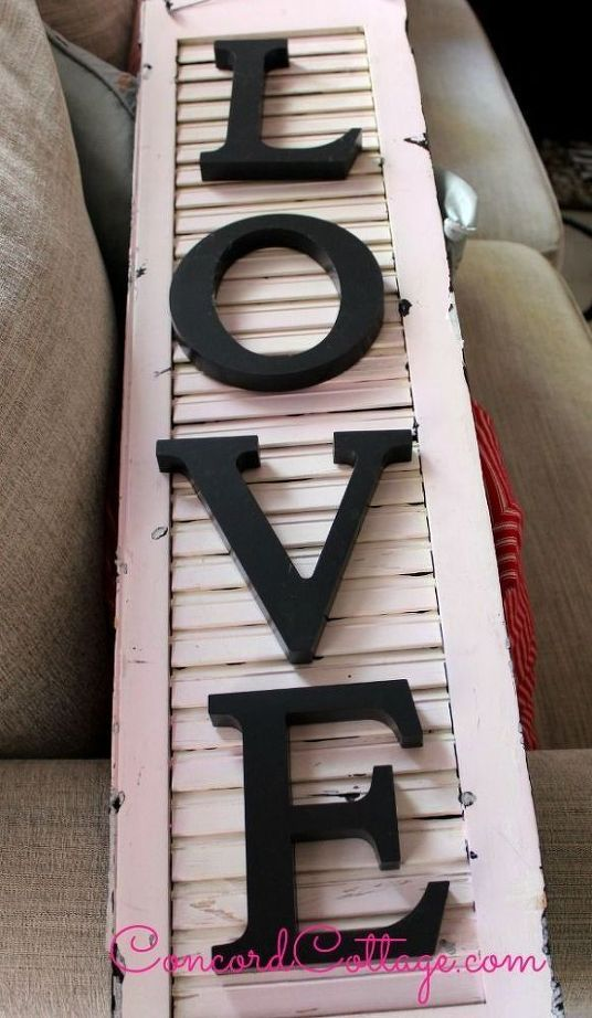 Diy word decor with shutters