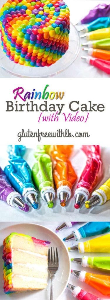 Rainbow Birthday Cake with an easy-to-follow Video tutorial! | This cake piping is perfect for a kids birthday party or a special event.