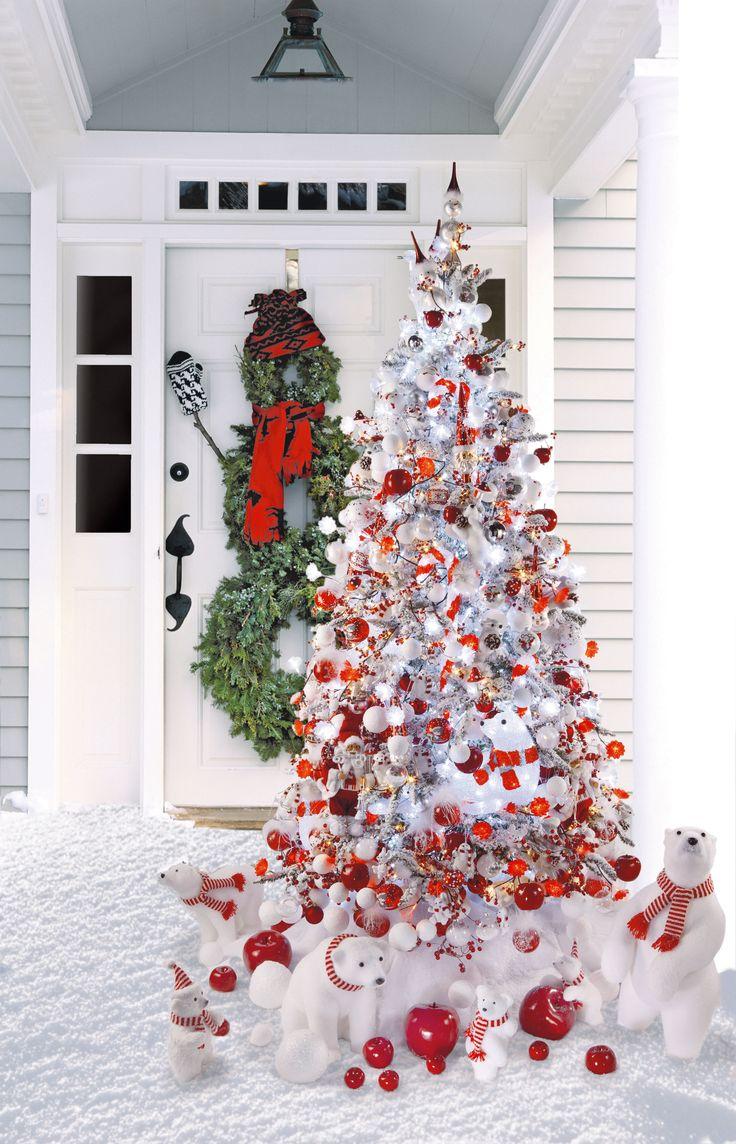 Boules de neige un superbe sapin de no l en rouge et Decoration sapin de noel rouge et blanc