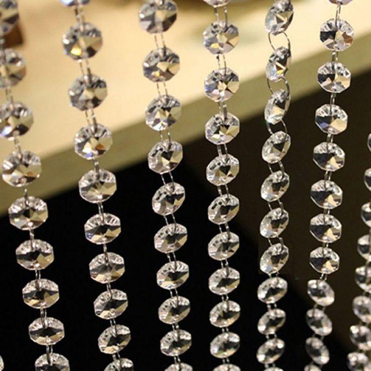 3.3FT Crystal Clear Acrylic Bead Garland Chandelier Hanging Wedding Curtain Deco