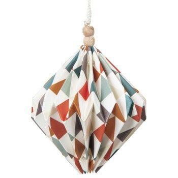 Boule de Noël motif triangles en papier 8 cm ORIGAMI