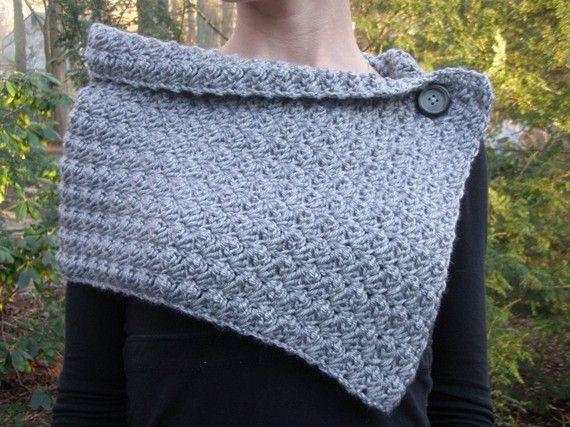 Uncinetto cappuccio sciarpa scaldacollo in Heather grigia con