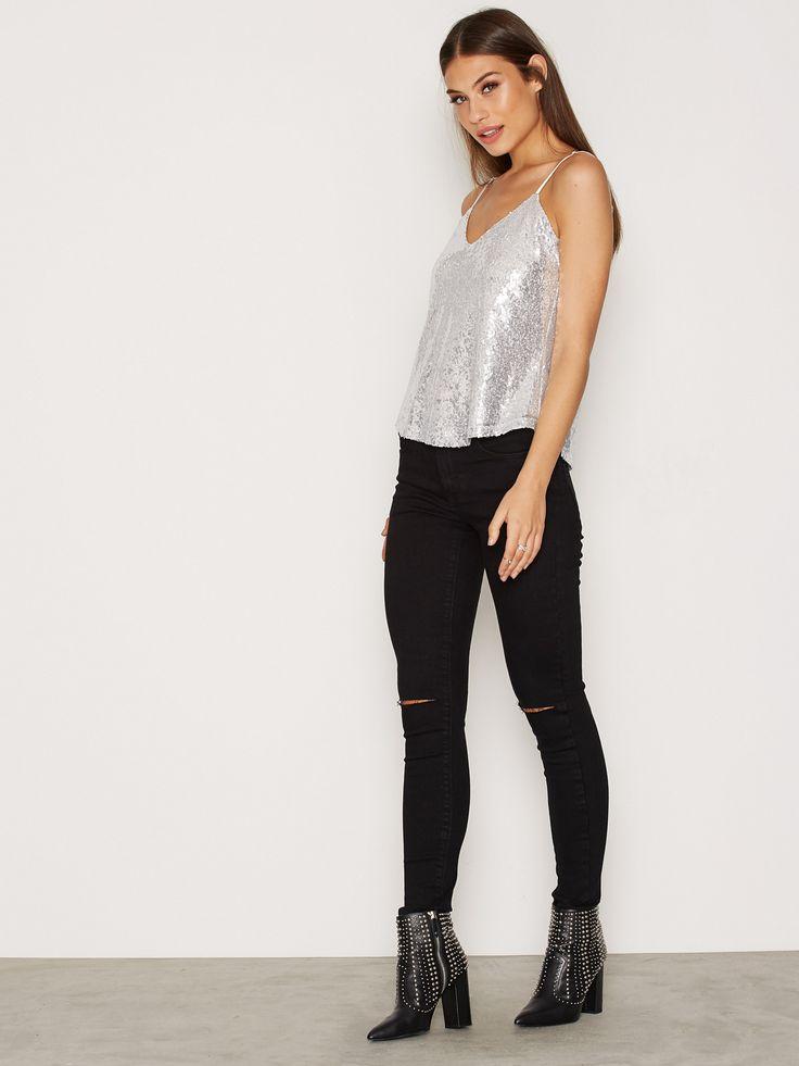 Shoppa Sequins Strap Top - Online Hos Nelly.com
