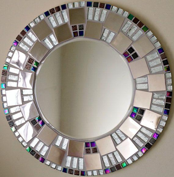 Mosaico hecho a mano hermoso espejo biselado borde plata