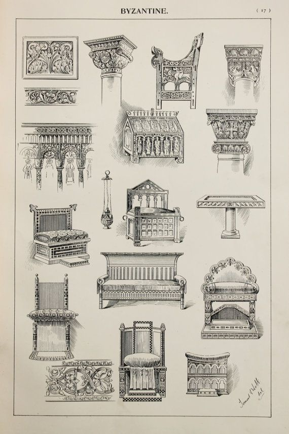 Byzantine Furniture Designs Large Antique Black & by PaperPopinjay