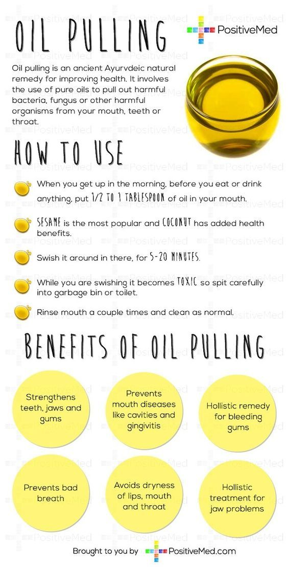 Oil Pulling Will Whiten Teeth, Get Rid Of Bad Breath, And Clear Up SkinSwish coconut oil around in your mouth for twenty minutes every day. This technique is referred to as oil pulling. Within one week you will notice whiter teeth, fresher breath, and clearer skin.