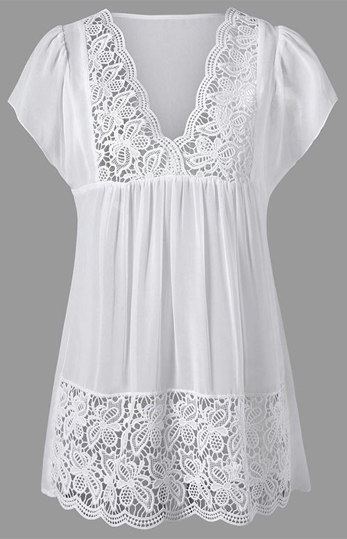 Lace Trim Cutwork Smock Blouse ( 0 )211398704