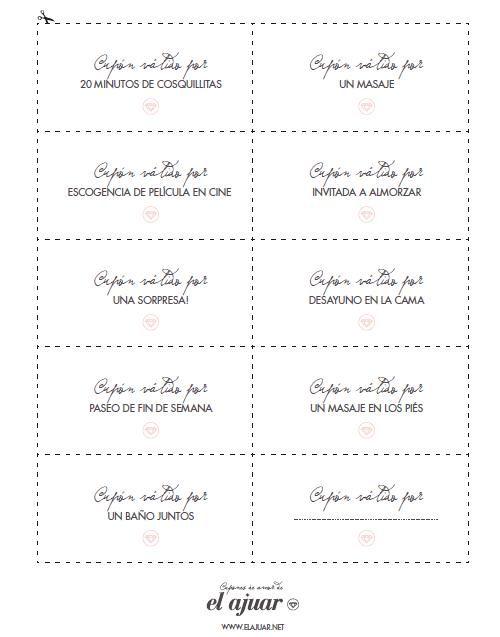 Imprimibles: Vales / Cupones de amor para San Valentín (Recopilación)…
