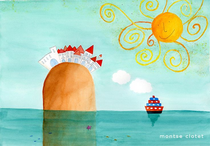 turquoise island illustration, by montse clotet.