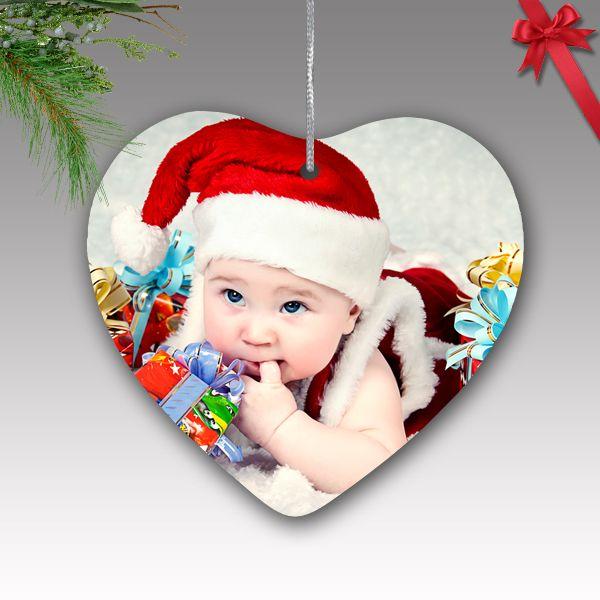 Fényképes karácsonyfa dísz - kerámia, szív