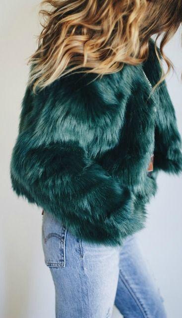 Emerald faux fur.