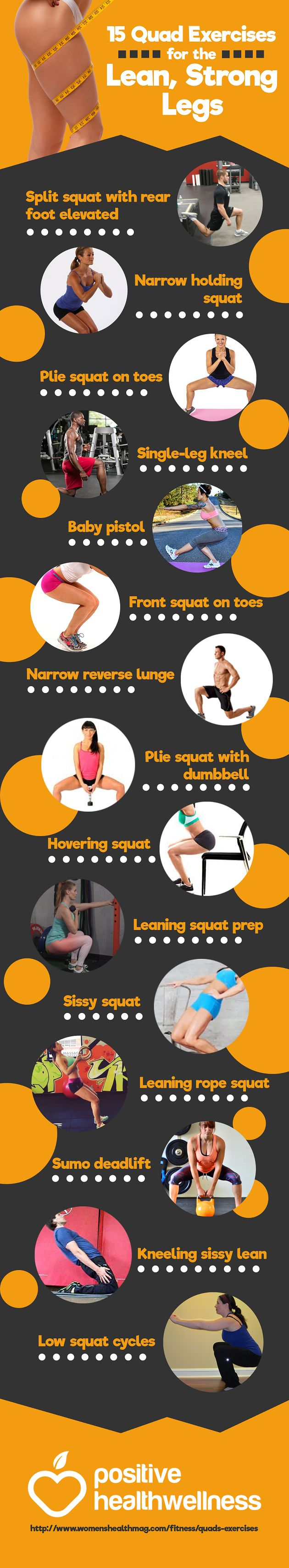 15 Quad Exercises for the Lean, Strong Legs – Positive Health Wellness Infographic