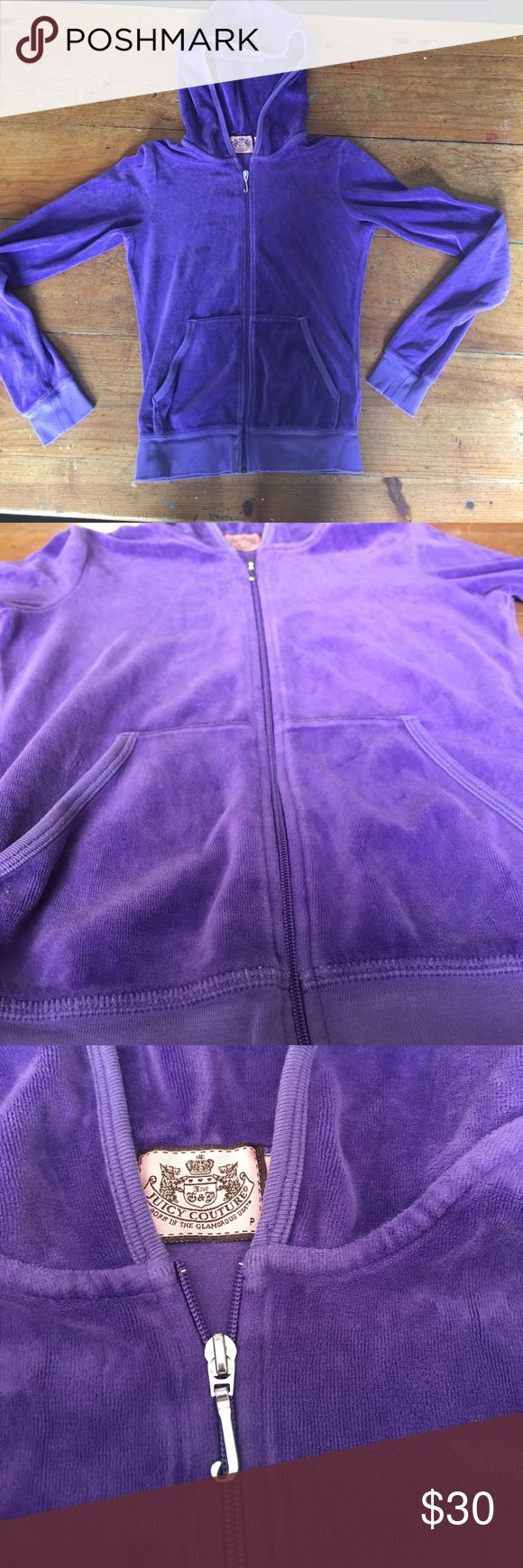 Velour Juicy couture hoodie size p Cute purple zip up hoodie size P. Great condition Juicy Couture Other