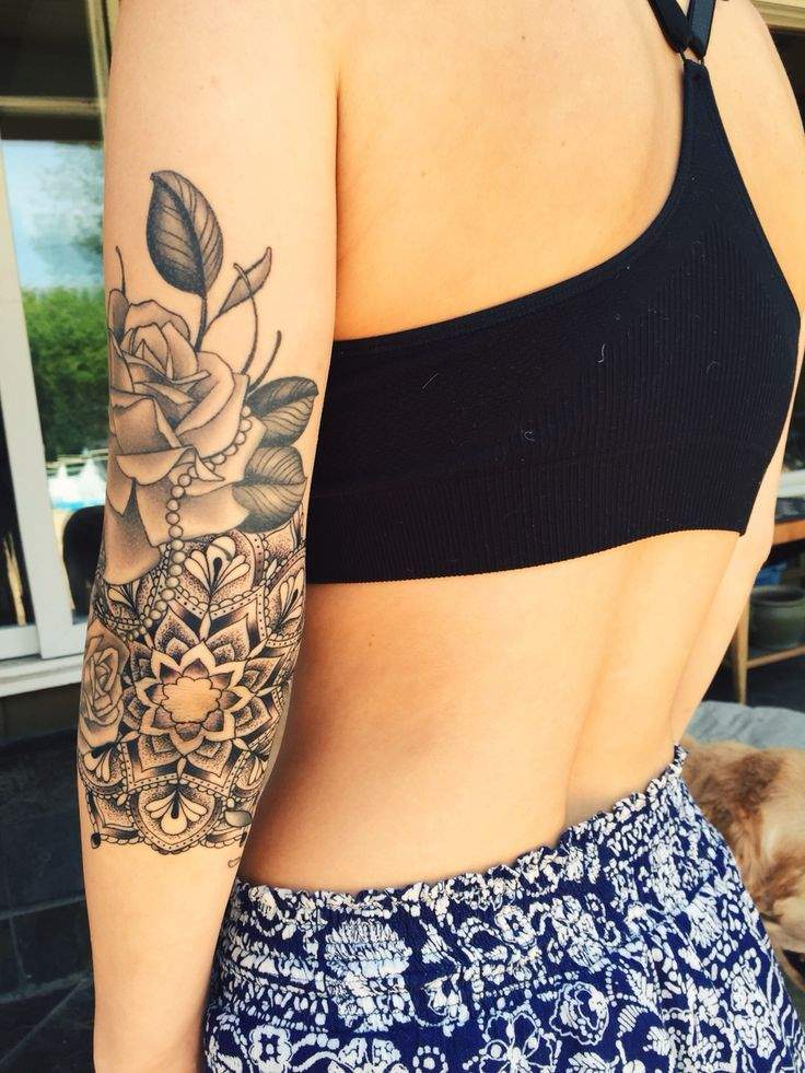Elbow mandala tattoo with roses done at Hold Fast Studio in Redwood City, CA...Awesome!
