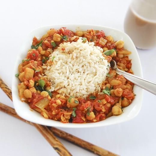 Tomato - chickpea curry.  I left out the cinnamon and cloves and added curry powder.  So easy, healthy and tasty too!!