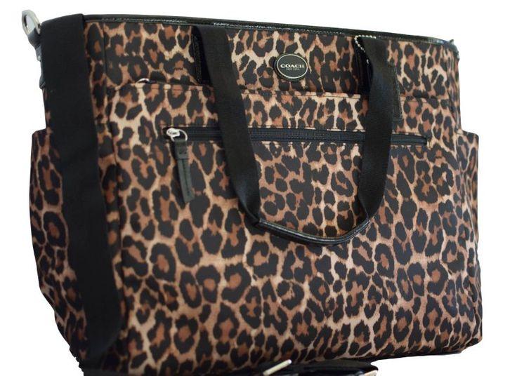 Diaper Bags Coach image – COACH Leopard Print Nylon Baby Diaper Bag in Silver / Natural Multi 33314