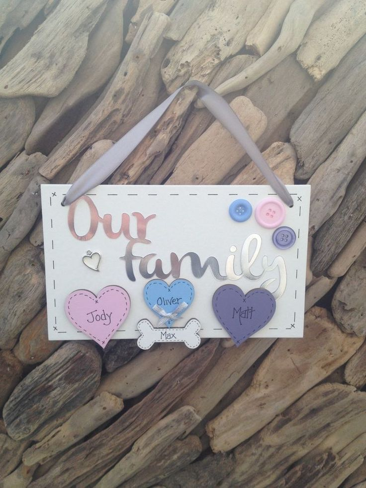 Our Family Family Surname Personalised Plaque With Hearts Gift Present