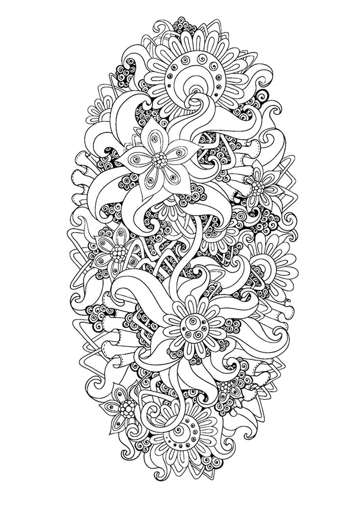 Free coloring page coloring-zen-antistress-abstract-pattern-inspired-by-flowers-9-by-juliasnegireva. Zen & Anti-stress Coloring page : Abstract pattern inspired by flowers : n°9, by Juliasnegireva (Source : 123rf)