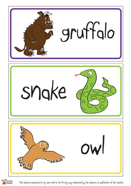 Teacher's Pet - The Gruffalo Word Mat - FREE Classroom Display Resource - EYFS, KS1, KS2, julia, donaldson, grufalo, mouse, snake, owl, fox,...