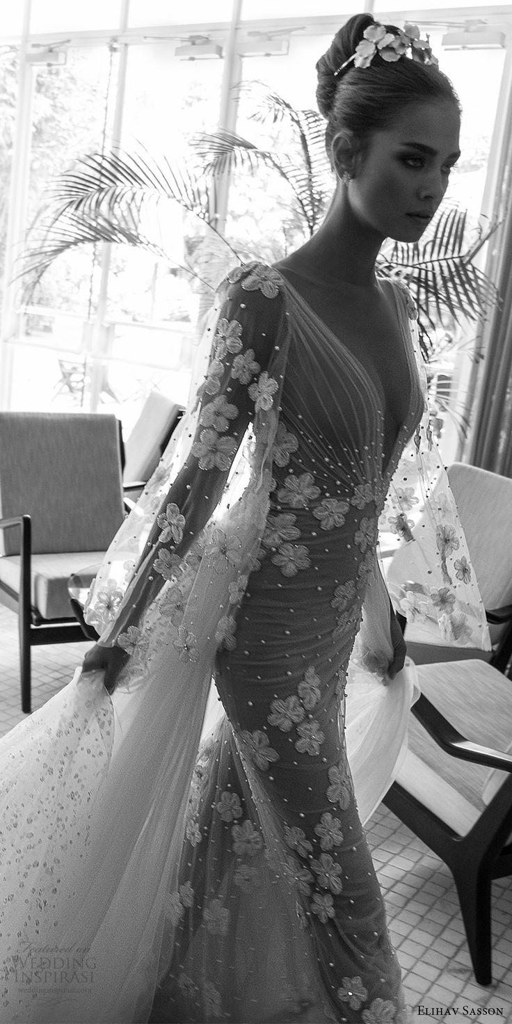 elihav sasson spring 2018 bridal deep v neck illusion bouffant long sleeves ruched bodice sheath wedding dress (vj 017) zv long train princess romantic