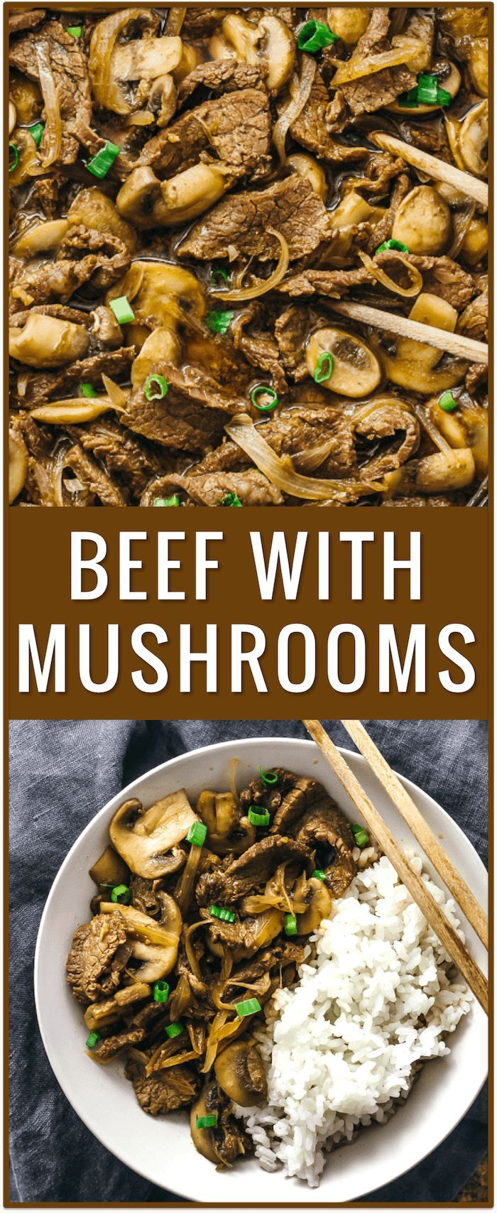 Easy beef with mushrooms and onions recipe, steak and mushrooms, sauce, sauteed mushrooms with red wine, sirloin steak, flank steak, stir fry, stroganoff, stew, paleo, crockpot, ground, soup, gravy, healthy, rice via @savory_tooth