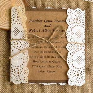 classic lace rustic wedding invitations EWLS009