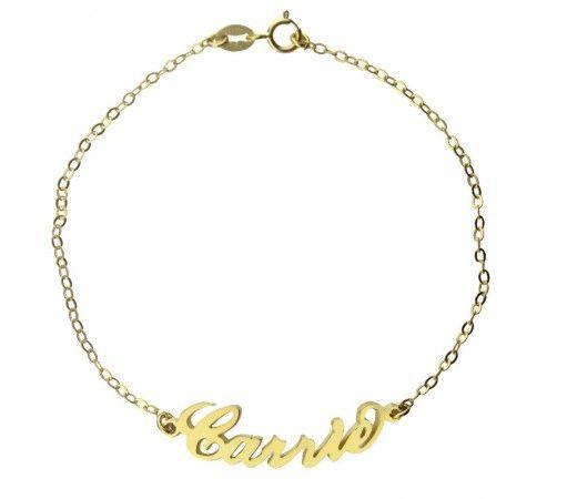 【送料無料】オーダーメイド! シルバーの金メッキ  Carrie ネームブレスレットCNB2