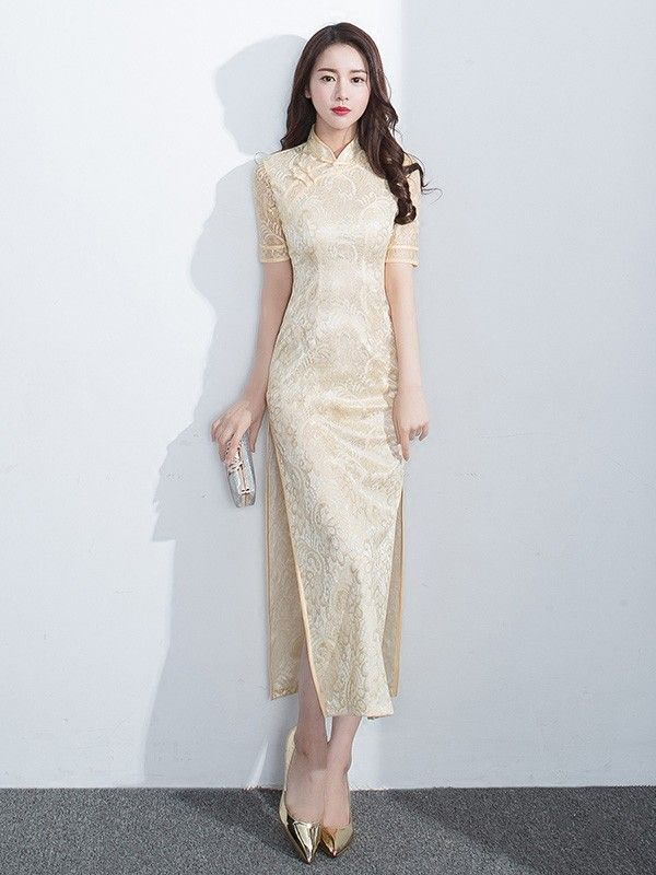 Sweet Yellow Lace Qipao / Cheongsam Evening Dress