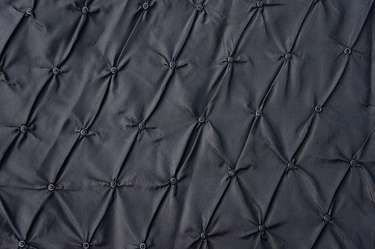 Vintage 1950s Black Silk Taffeta Dress - Ring Puckered Skirt - M