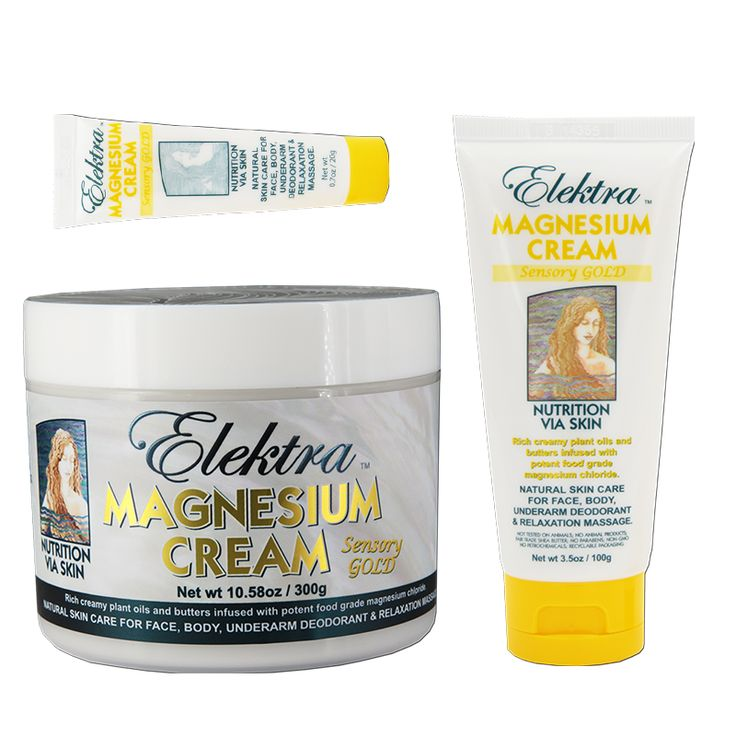 Elektra Magnesium Cream 'Sensory Gold'... Rich and restorative. Super moisturizing. With nagchampa essential oil... smells like incense. Great for relaxation massage and recovery.