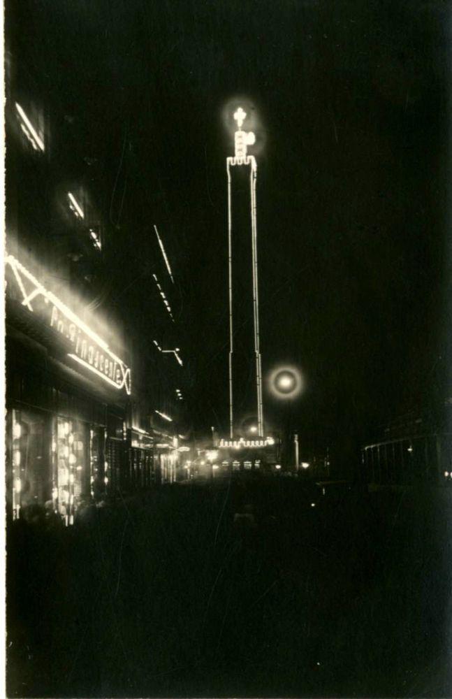 BOLOGNA-TORRE ASINELLI  ILLUMINATA X IL CONGRESSO EUCARISTICO-FOTO D EPOCA-1927